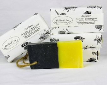 Minor handcrafted natural soap with activated charcoal tea from India and oily prone skin tea tree. Sports SOAP
