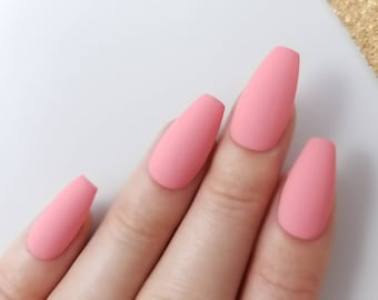 Matte Coral Pink Press On Nails