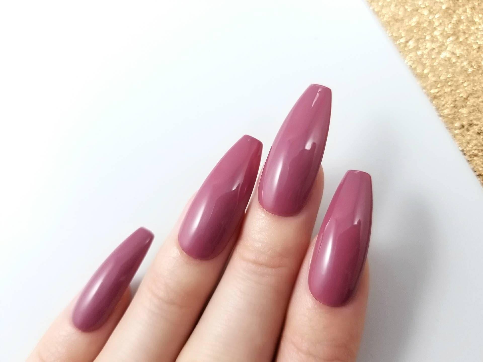 Mauve press on nails Glossy finish Any shape Reusable