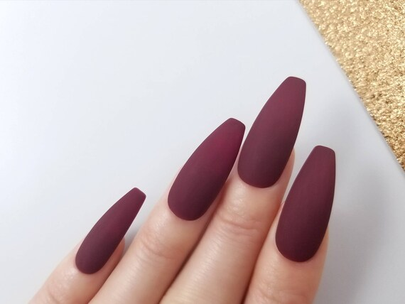 Matte Burgundy Press On Nails Hand Painted With Gel For The Etsy
