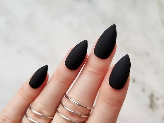 Classic Matte Black Press On Nails Any Shape Nail Glue Or Etsy