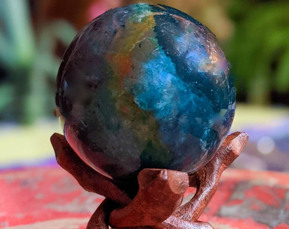 Large Natural Ocean Jasper Crystal Ball + Stand / High Quality Sphere / Crystal Energy /Tumbled Septarium /Chakra Stone / Crystal Healing