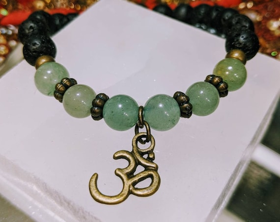 Green Aventurine & Lava Stone Bracelet w/ Bronze OM Charm / Can Be Used With Essential Oil