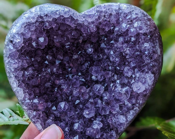"""Amethyst Hearts / 5.5"""" / High Quality! / Raw Amethyst Geoid Stone / Third Eye Chakra Stone / Natural Crystal Cluster / Special Gift!"""