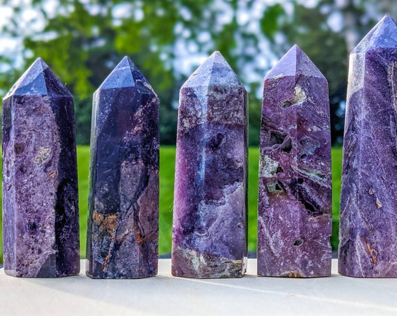 Natural Sugilite Tower Point / High Quality With Druzy / Rare Luvulite / Bustamite / White Light Vibration / Love Stone / Soulmate Stone
