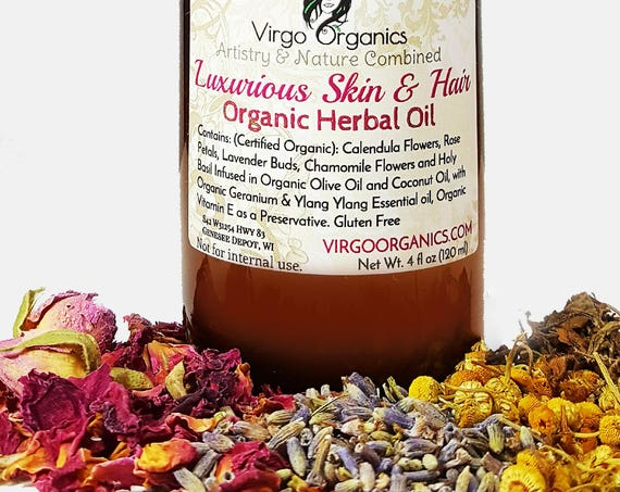 LUXURIOUS SKIN & HAIR ~ Organic Herbal Oil Blend / Great for Massage Oil, Soap, Lip Care, Skin Care or Hair Care Formulas!