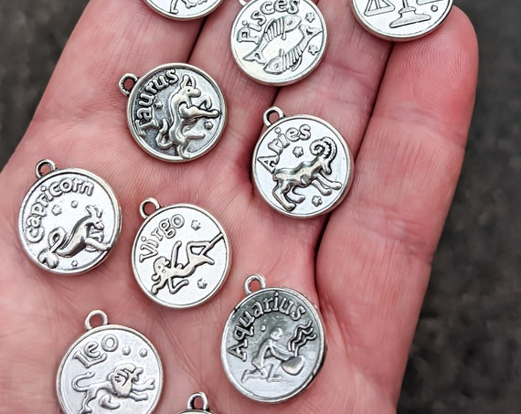 Zodiac Coin Charms / Double Sided / Lead and Nickel Free / Each Comes with a Positive & True Zodiac Trait / So CUTE! / Zodiac LOVE