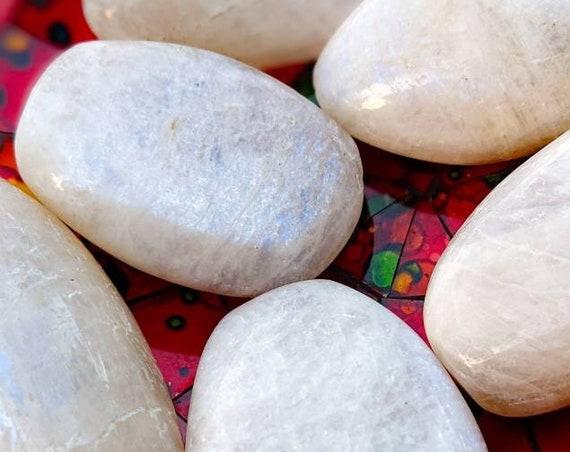 Rainbow Moonstone Palm Stone / Very High Quality & Flash! / Healing Crystal Energy / Chakra Stone / Meditation Stone / Emotional Balance