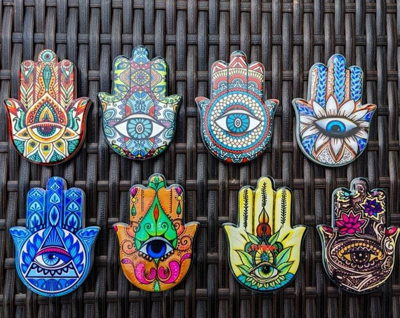 Fatima Hand Magnet / Ceramic / Colorful / Refrigerator Magnet / Symbol of Protection / Perfect for Any Home!