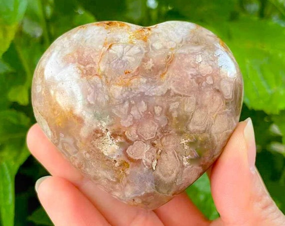 Natural Cherry Blossom  Agate Palm Stone / Flower Agate / High Quality / Crystal Energy / Chakra Stone / Crystal Healing