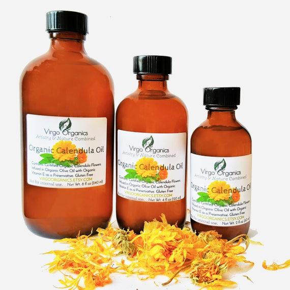 Organic Calendula Oil / Luxury for Skin, Hair, Nails & Lips / Gluten Free / Vegan / Non GMO
