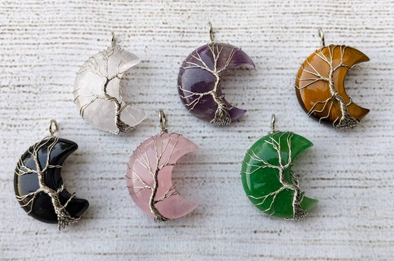 Crystal Moon & Tree of Life Necklace / Healing Crystal Necklace / Natural / Choose Your Favorite Stone + Chain / Single Pendants Available!