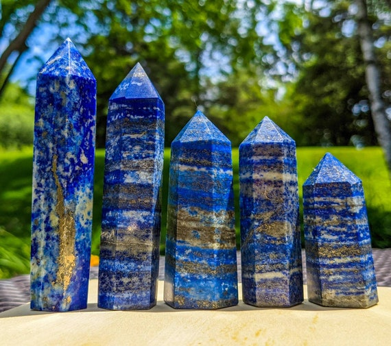 Natural Lapis lazuli Tower Point / High Quality with Many Golden Pyrite Flecks / Crystal Wand / Chakra Stone / Healing Crystal Energy