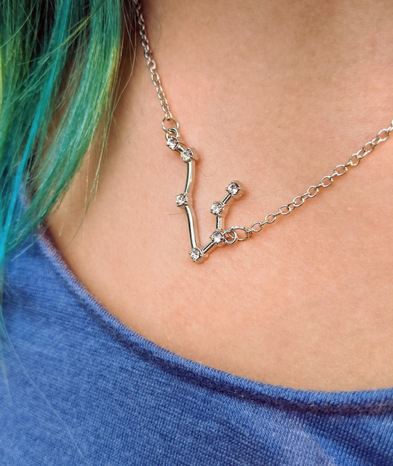SALE! Constellation Necklaces / 12 Zodiac Signs / Wear Your Sun or Moon Sign Proudly! / Stainless Steel / Adjustable / Natural Zircon Stars