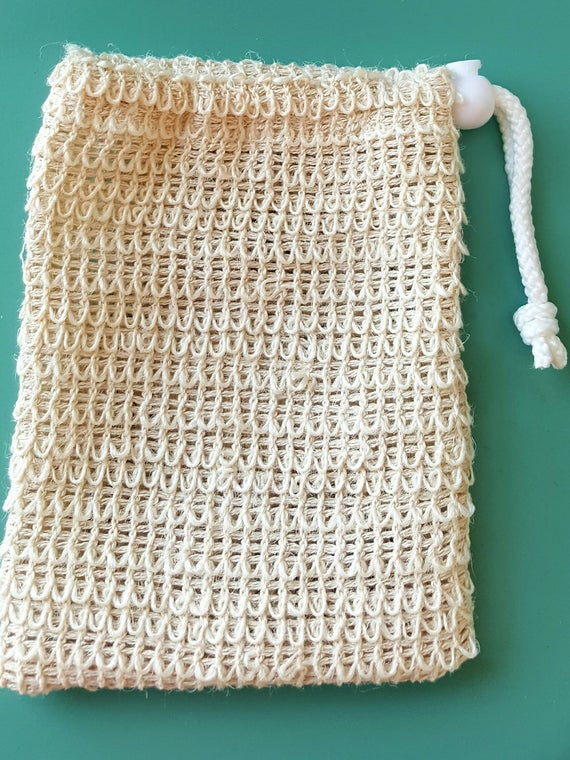 """Extra Large Natural Sisal Soap Pouch / Soap Saver Sack /  6"""" x 4.5"""" / Great Natural Exfoliation!l Hangs for Easy Dry/Reuse/Biodegradable"""