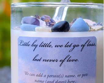 Bereavement Candle / Crystal Infused Soy Candle / Customizable Label & More / Crystal Healing / Grief / Loss of Loved One / Remembrance