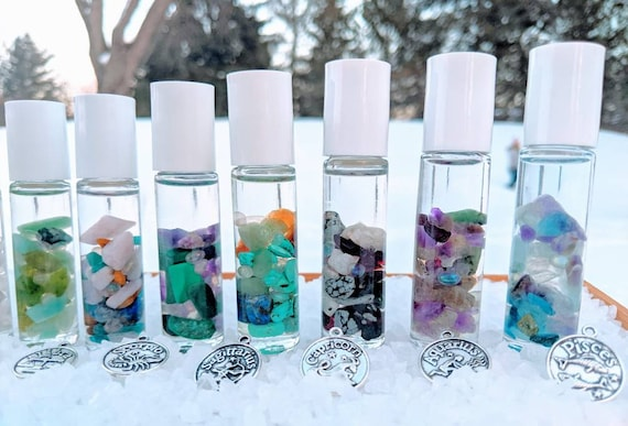 ZODIAC Body Mist & Roll Ons ~ Stuffed Full of Crystals / Charged Full Moon Water, Positive Intentions/ Vegan / GF / Zodiac Charm Included!