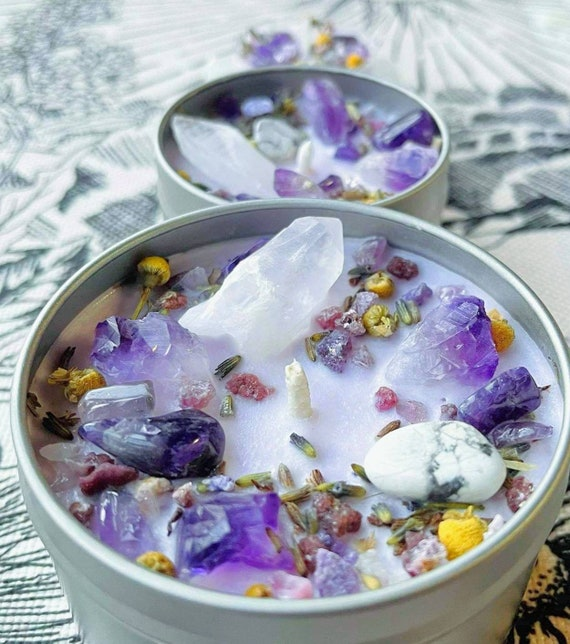 Healing Herbal Crystal Candle / Calming Energy / Relaxation / Soothe Anxiety & Insomnia / Soy Wax / Lavender Vanilla /Many Sizes Available!