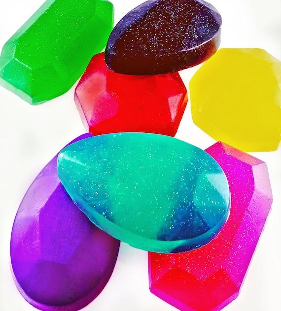 Sparkling GEM Soaps / Set of 3 / Organic Oils / Gluten Free / Vegan / Soy Free / Phthalate Free / Great Gifts / Beautiful / Customizable!
