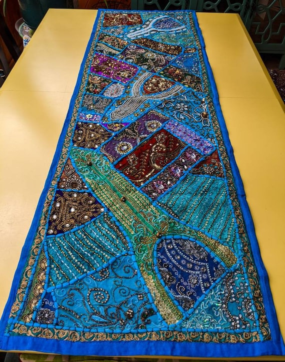 Beaded Sari Tapestry / Wall Decor / Table Runner Decor / Alter Decor / One of a Kind / Bohemian Decor / Stunning Patchwork & Colors!