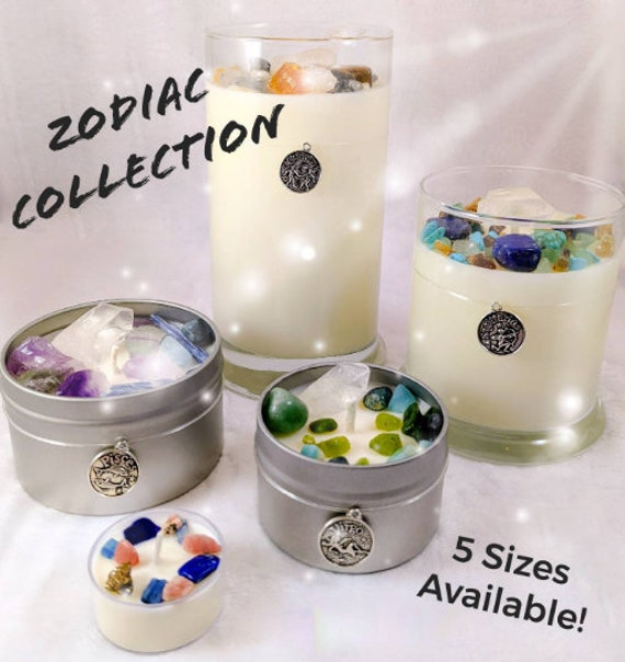 Soy Crystal Zodiac Candles / Special Keepsake Crystals ~ Plus a Unique Zodiac Charm Included ~ MANY Sizes to Choose From / AMAZING Energy!