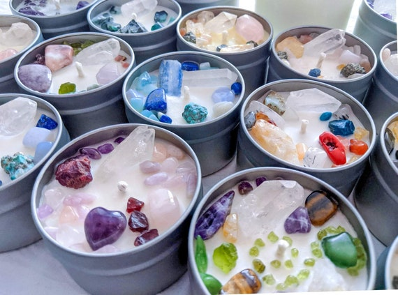 4 oz Soy Crystal Candle / CUSTOMIZE Your Crystals, Scent + Wax Color / Special Keepsakes When Finished / Creativity & Healing Begins Here!
