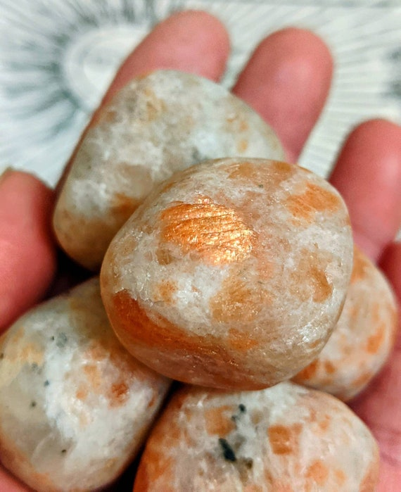 Tumbeled Sunstone / Large Stones /For Decor, Reiki, Chakra, Spells, & More! Crystal Healing / Vitality Independence / Happiness / Creativity