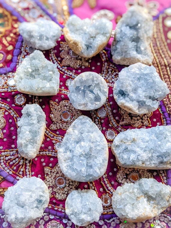 Celestite Cluster / High Quality! / Rough Natural Crystal / Celestite Stone / Multiple Size Clusters Available!