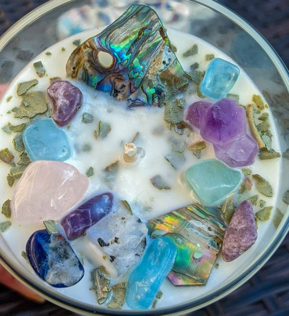 Mental & Emotional Wellness / Crystal + Herbal Infused Soy Candle / Customizable Scent / For Meditation, Home Fragrance, + Chakra Alignment