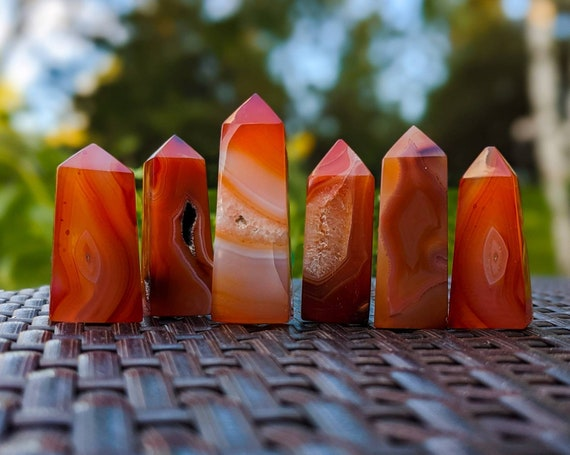 Natural Carnelian Tower Point / High Quality Polished With Druzy / Self Worth / Harmony and Balance / Powerful Protection / A Zest For Life