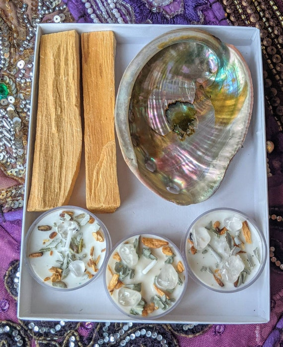 Smudging & Alignment Sets! / Palo Santo / White Sage / Abalone Shell / Sage and Palo Tea Light Candles / Mystery Stone / Healing Energy