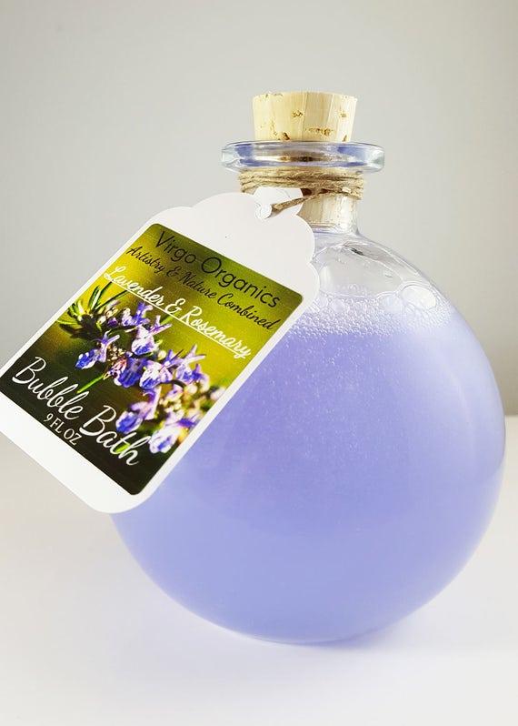 Organic Bubble Bath ~ Lavender & Rosemary / Relaxing Bergamot  / Gluten Free / Headache Relief ~ Aromatherapy / Healthy Bubbles!