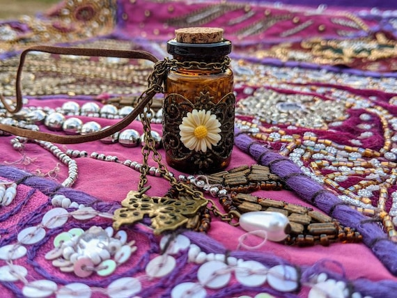 Glass Potion Bottle w/ Cork Top & Velvet Cord / Filled With Crystals, Top Quality Resins Or Herbs - Your Choice! Special Keepsake Gift