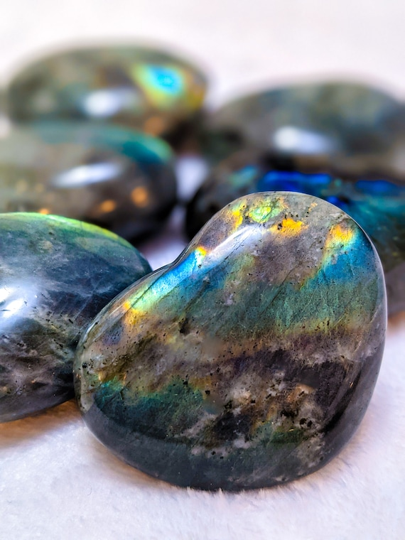 Large Polished Labradorite Palm / Puffy Heart Stone / AAA Quality / Flashy / Blues, Greens, Purples, Rainbow / These are STUNNING!