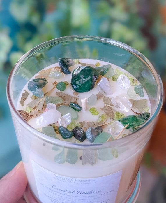 Mint Melody / Crystal + Herbal Infused Soy Candle / Meditation / Yoga / Aromatherapy / Soothing / Breathe Easy / Wellness & Luck Energy