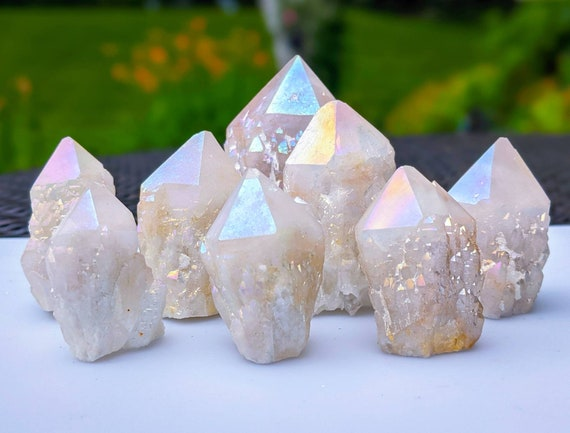 Angel Aura Candle Quartz / Pineapple Quartz / High Quality! Free Standing / Crystal Healing / Cluster specimen & Large Points / Powerful!