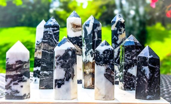 Natural Zebra Jasper Tower Point / High Quality / Crystal Wand / Root Chakra Stone / Healing Crystal Energy / Yin-Yang / Balance / Calming