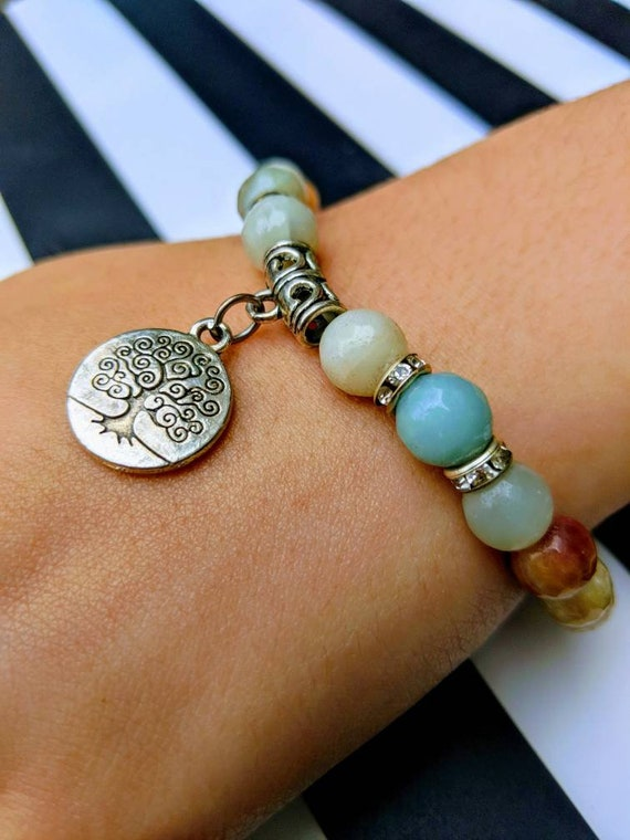 Natural Amazonite Tree of Life Bracelet with Dainty Rhinestone Placement / Real Crystal Beads / Chakra Stone / Crystal Healing