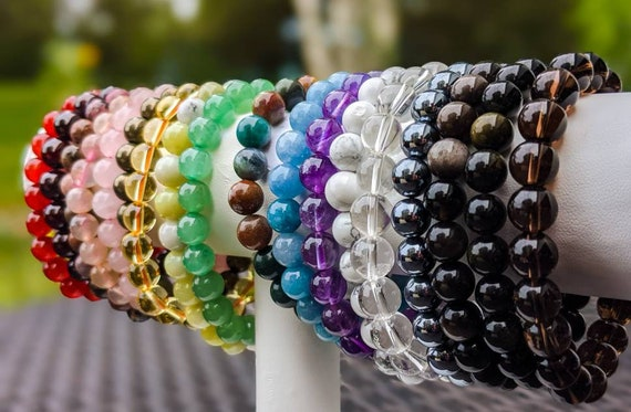 Crystal Beaded Bracelets / High Quality Natural Gemstones / Crystal Healing / 8mm Beads in 20+ Different Gemstones / Custom Sizes!