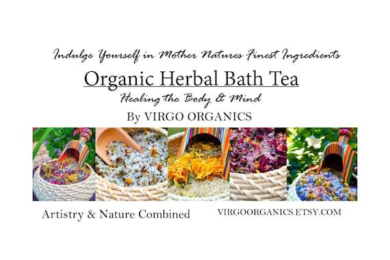 Variety Set of 5 Different ORGANIC Herbal Bath Teas / By Virgo Organics / 1.75 LBS / Healing AROMATHERAPY / Gluten Free gift / Bath Heaven!