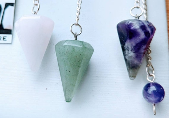 On SALE / Real Crystal Pendulums with Special Silver Charm Options Available