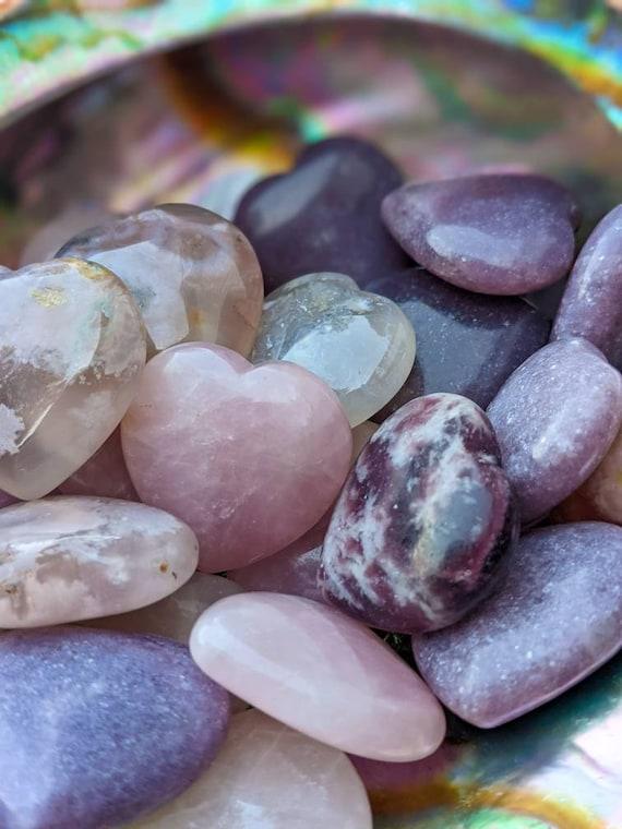 Rose Quartz, Lepidolite, & Flower Agate Hearts / Natural Stone / High Quality / Healing Crystal Energy / Pocket Stone / Meditation Stone