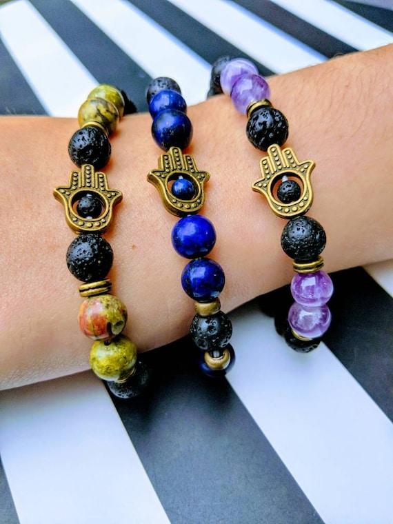 Fatima Bracelets ~ With Lava Stone For Essential Oils ~ Choose Lapis Lazuli, Amethyst, or Unikite. For Men & Women