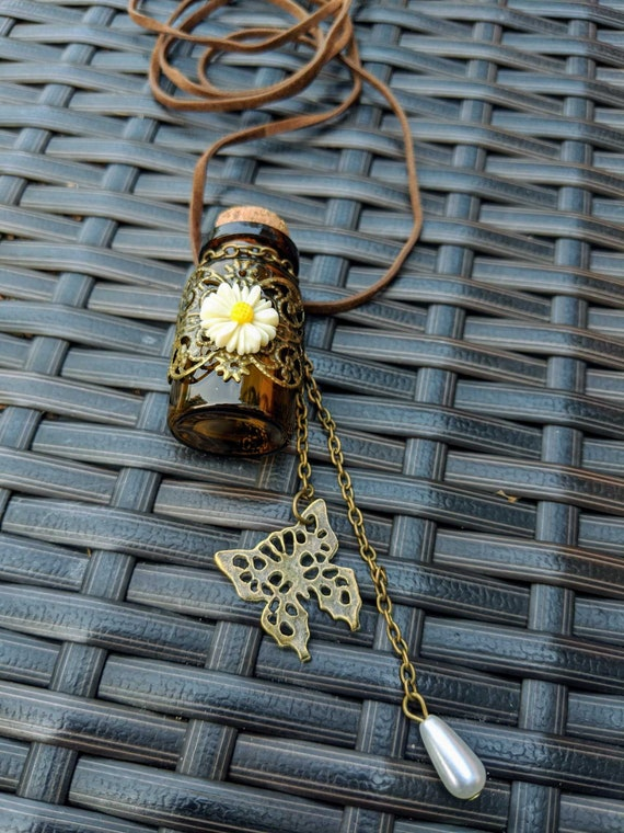 Glass Potion Bottle Necklace With Cork Top / Velvet Cord / Nickel Free / Choose to Have Filled With Resins or Crystals!