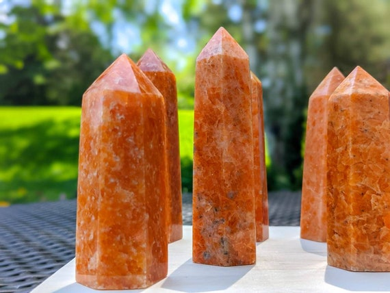 Natural Sunstone Tower Point / High Quality With Flash / Crystal Wand / Chakra Stone / Healing Crystal Energy / Chakra Stone / Meditation