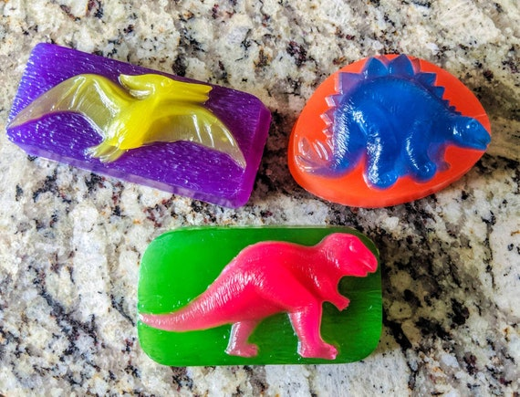 3 Pack~ Retro- Neon DINOSAUR SOAP! / All Organic Oils / Phthalate Free / Gluten Free / Vegan / Soy Free / Non GMO / Customizable!
