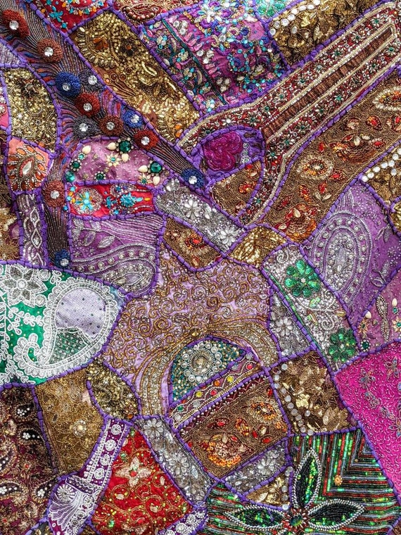 Purple Beaded Sari Tapestry XXL! / Beautiful as Wall Decor, or Tablecloth / One of a Kind / Bohemian Decor / Stunning Patchwork & Colors!