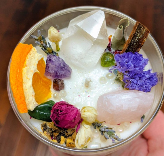 Love, Attraction, Intention Spell Candle / Organic Flowers, Herbs, & Essential Oils / Charged Crystals / Reki / Wiccan / Hoodoo / Spiritual