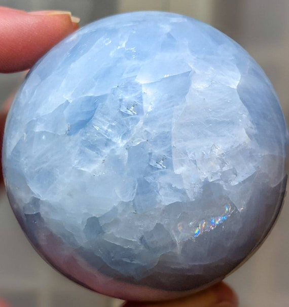 Natural Celestite Crystal Ball + Stand / High Quality w/ Rainbows / Crystal Energy / Chakra Stone / Inner Peace / Self-healing / Powerful
