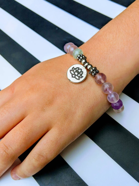 Natural Fluorite / Beaded Bracelet / Lotus Charm
